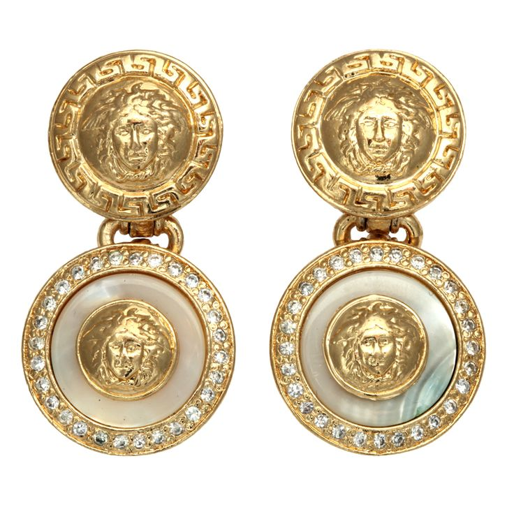 GIANNI VERSACE WHITE AND GOLD DANGLING EARRINGS WITH MEDUSA