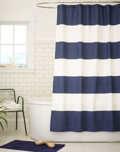 stiped navy shower curtain  http://rstyle.me/n/vwdpnpdpe