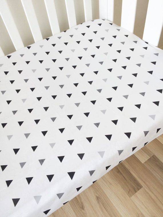 Black triangle  modern Fitted Cot Sheet Crib by ElskeLittleStyle