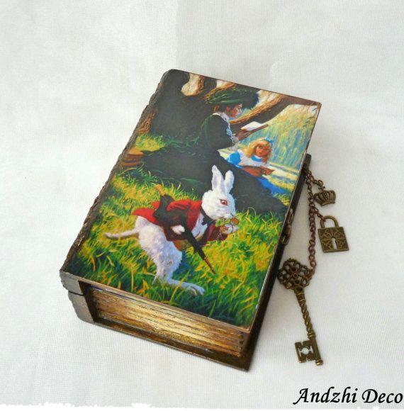 Box Buch Alice Im Wunderland Gewebekasten, Geheimfach, Alice Buch Box,  Grinsekatze, Einzigartige