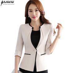 Женский карьера мода половина рукава женщины blazer Новый OL плюс размер формальный тонкий куртки офис дамы плюс размер рабочая одежда равномерное