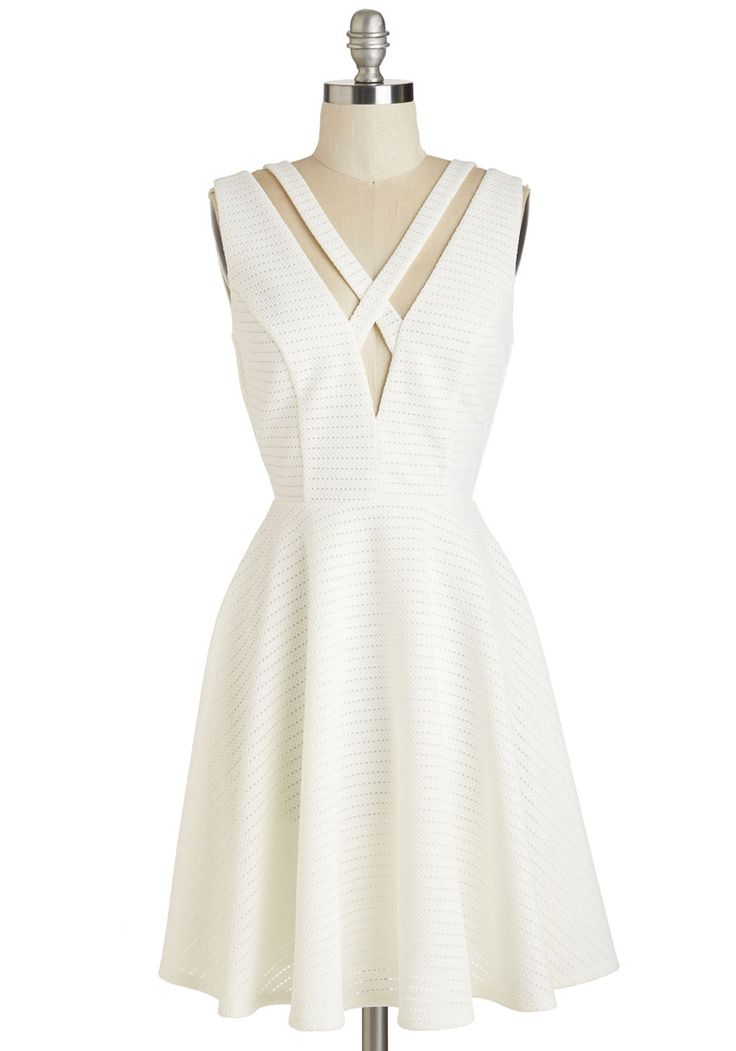 Picture Prix Fixe Dress. More delectable than the featured course, this white A-line wows with an edgy air. #white #modcloth
