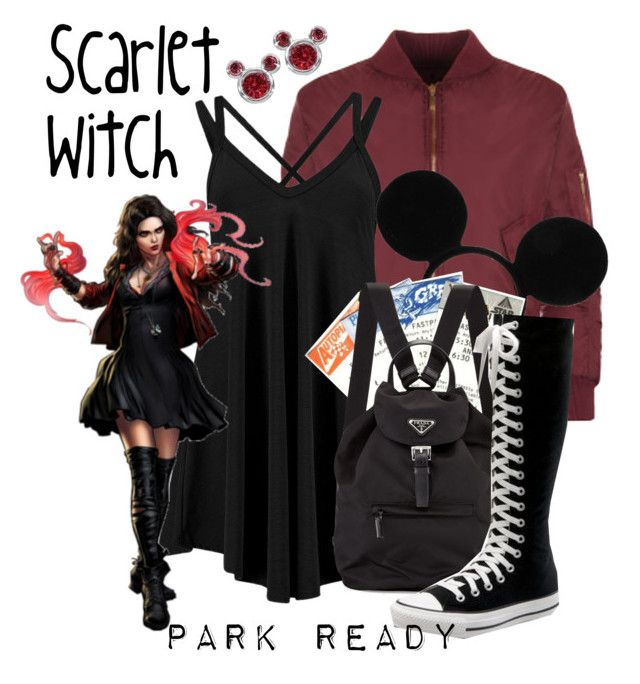"""Scarlet Witch: Park Ready"" by laniocracy ❤ liked on Polyvore featuring WearAll, Disney, Converse and disneyland"