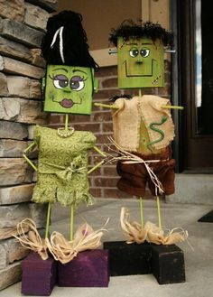 So cute. Wood block Frankenstein (and wife!).