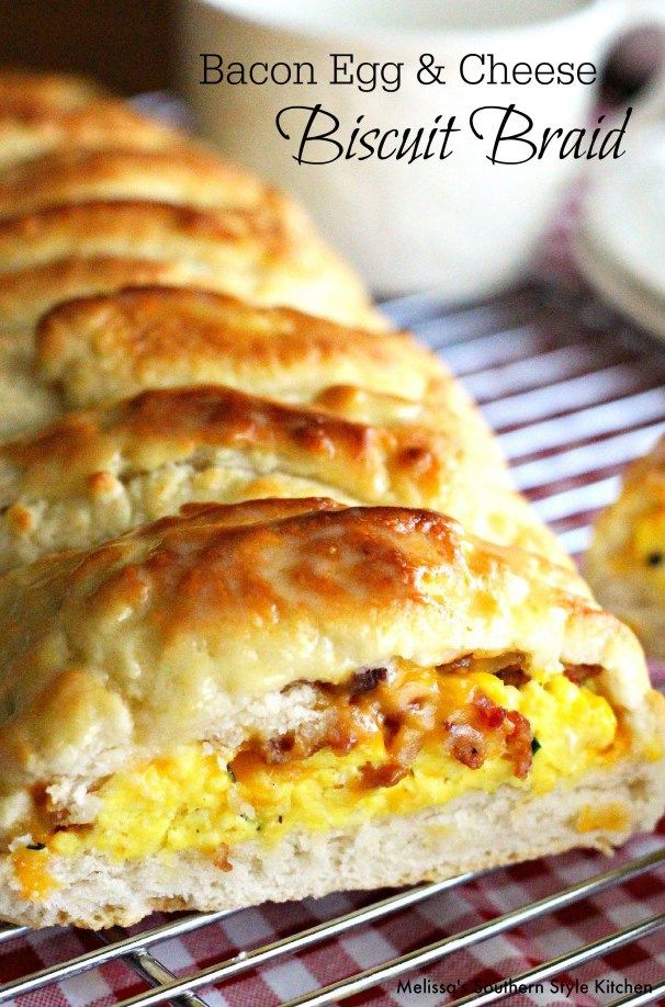 Breakfast for Dinner is always a winner! Bacon Egg & Cheese Biscuit Braid is a delectable savory bacon egg and cheese biscuit braid. It's scrumptious but then again, it does include our favorite breakfast ingredients wrapped up like a mouthwatering biscuit dough papoose.