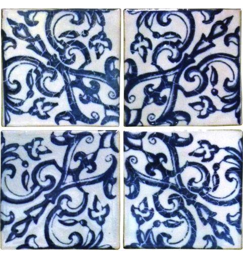 Porto Wall Tile, White & Midnight Blue