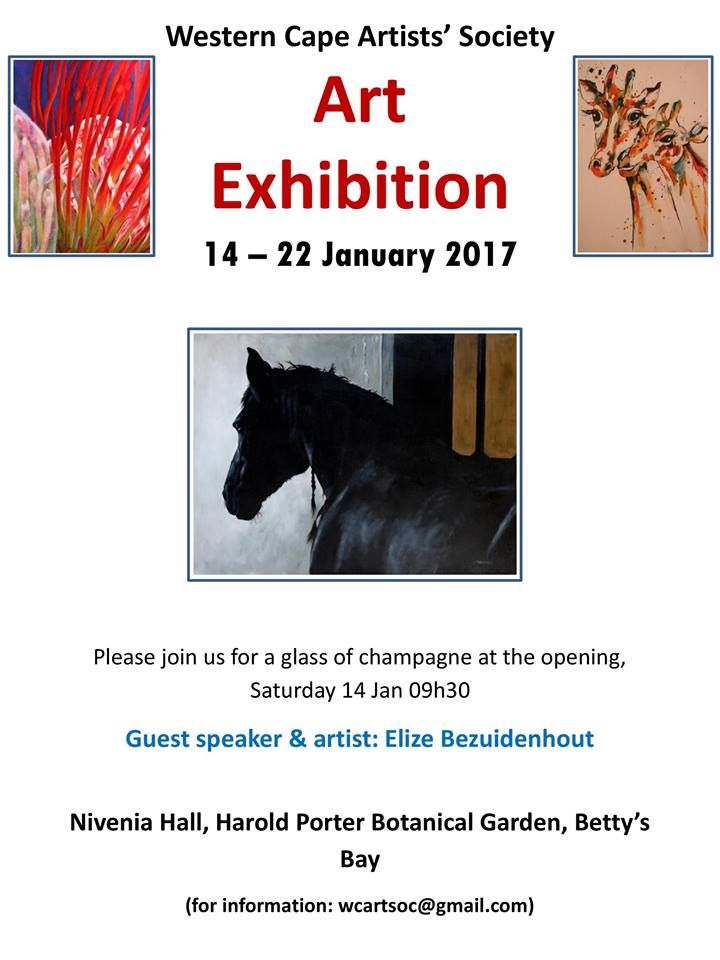I'm very pleased to be part of the Western Cape Artists' Society's Annual Merit & Little Gems exhibition which opens at the beautifulHarold Porter Gardens in Betty's Ba…
