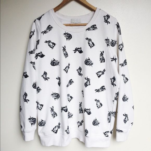 Rabbit Sweatshirt Soft and comfy rabbit sweatshirt. Worn a handful of times. No rips, tears, holes or stretched out parts. Forever 21 Tops Sweatshirts & Hoodies