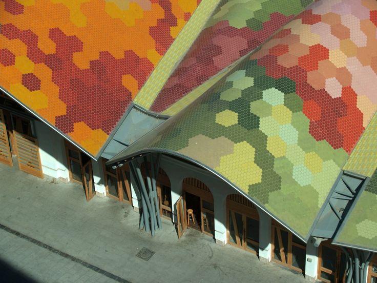 Santa Caterina Market ceramic roof by Enric Miralles. Barcelona, Catalonia