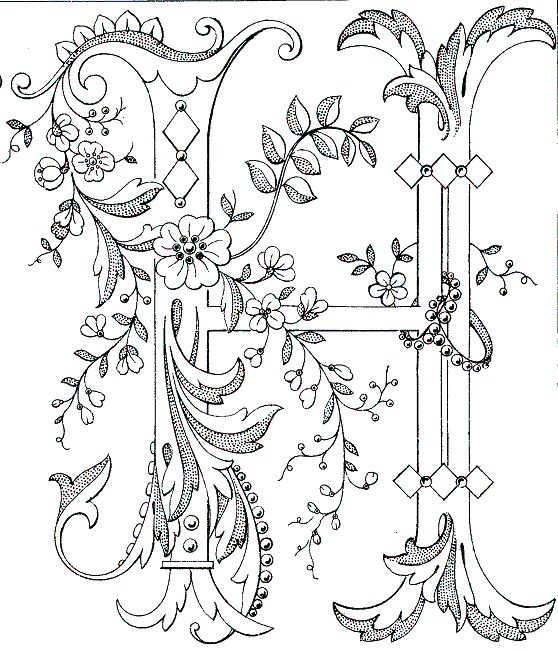 Free Printable Fancy monogram: Link to Antique Pattern Library, all letters available