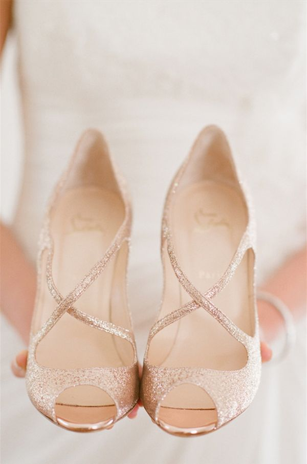 Sparkly rose gold wedding shoes make a statement as you walk down the aisle and tear up the dancefloor