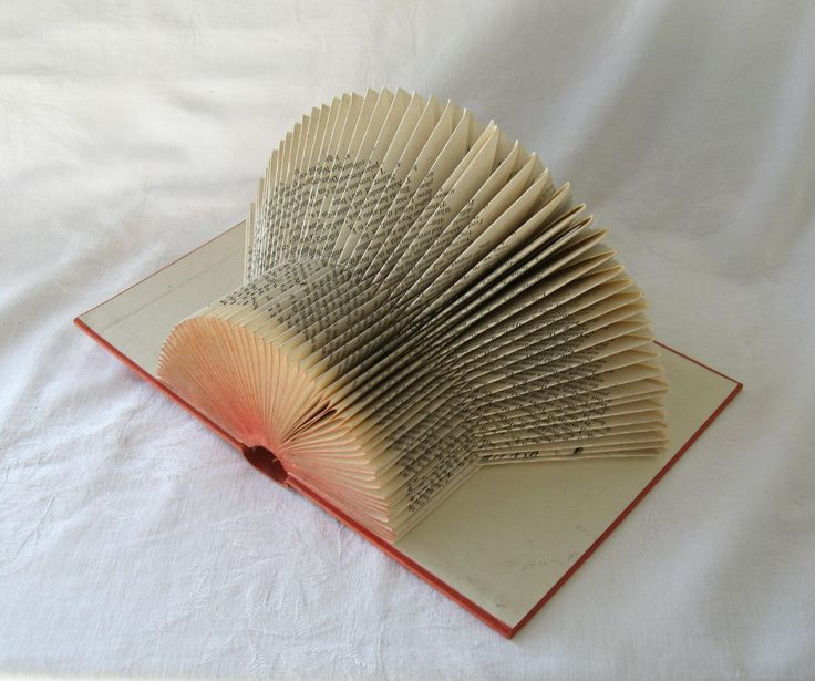 Red Folded book sculpture, book art, book folding art, paper sculpture, altered book decor, book lover gift, paper anniversary, home decor by ElizabethAngusArt on Etsy