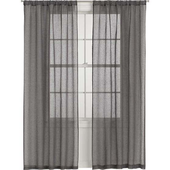 Linen Sheer Grey Curtain Panels In Curtains