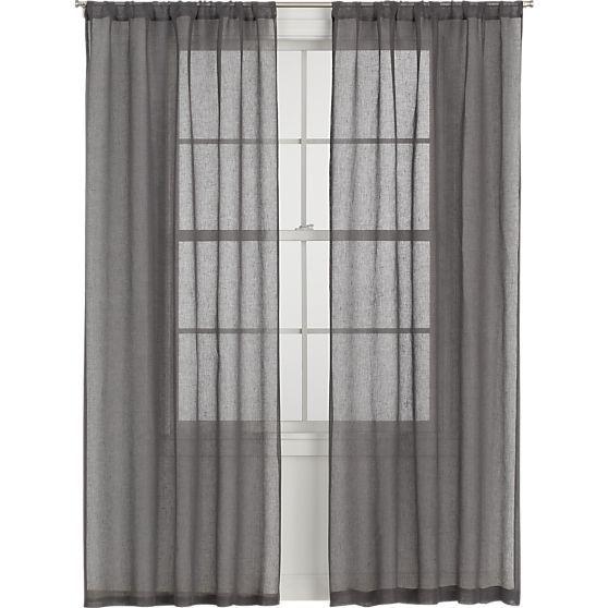 Linen sheer grey curtain panels for Linen sheer window panels