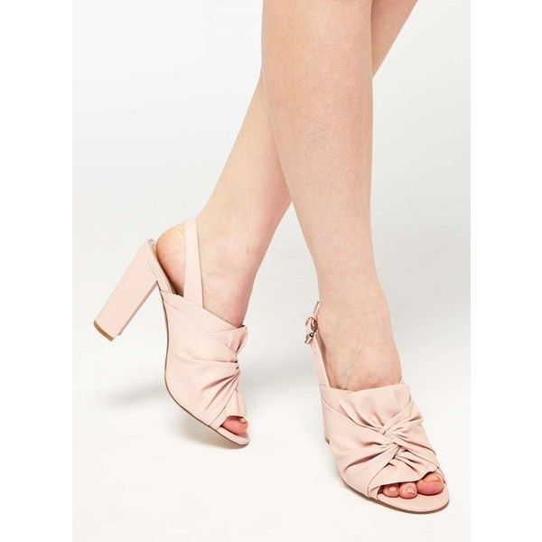 Miss Selfridge LUNA Bow Sling Back Sandals (£72) ❤ liked on Polyvore featuring shoes, sandals, pink, pink bow sandals, pink heeled sandals, pink high heel sandals, pink shoes and bow sandals