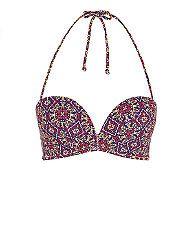 Multi Coloured Tile Print Extreme Push Up Bikini Top  | New Look