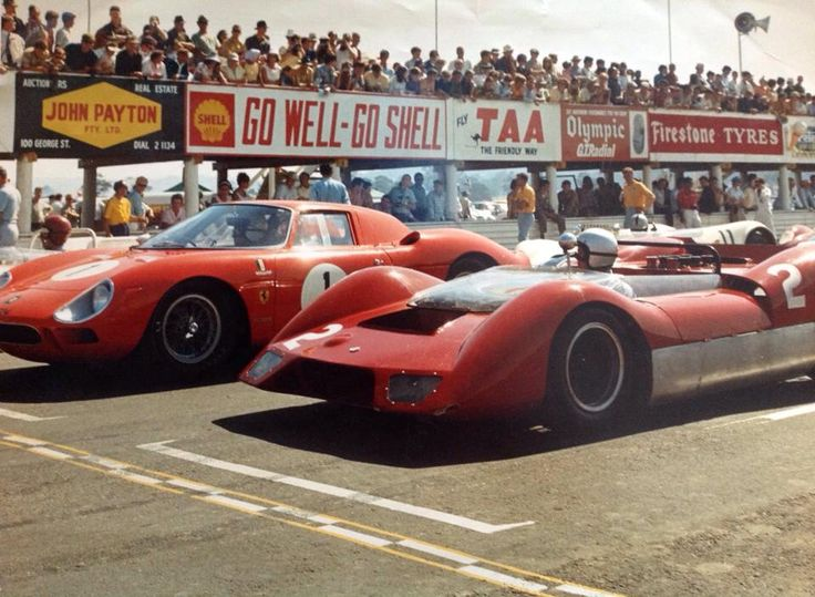 Frank Matich Elfin 400/Traco Olds #2 and Spencer Martin Ferrari 250LM. Australian Tourist Trophy, Longford, Tasmania 1966. (oldracephotos.com/ dick simpson)...