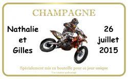 Etiquette à champagne personnalisée moto cross