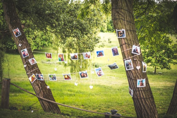 Dekoracje ze zdjęć Pary Młodej rozwieszone w ogrodzie. Wokół drzew rozwiesiliśmy lampki co dobrze oświetlało całą dekoracje także w nocy.