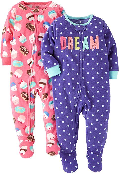 732bf6d99884 Amazon.com  Carter s Baby Girls  Toddler 2-Pack Fleece Pajamas ...