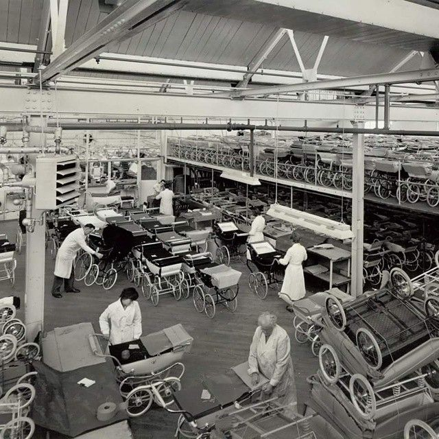 This 1962 photograph, taken at the Silver Cross Works, shows prams being packed ready for dispatch.