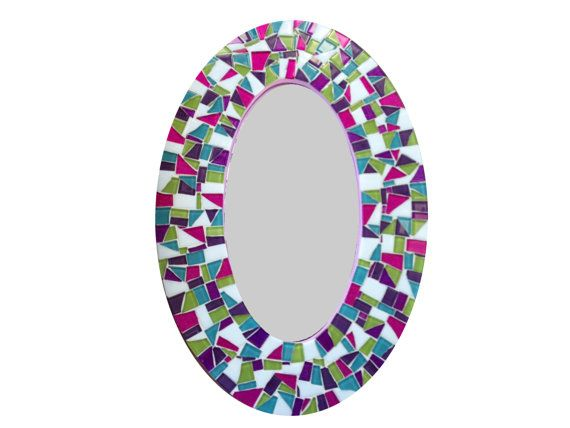 Mosaic Wall Mirror Oval Decorative Mirror by GreenStreetMosaics