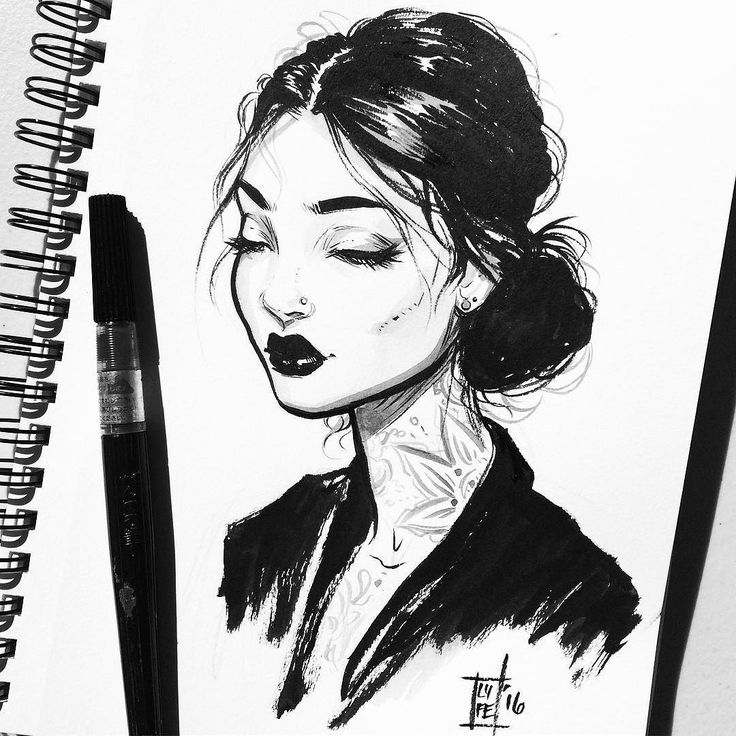 By Lydia Fenwick female cartoon character with tattoos black and white ink brush pen