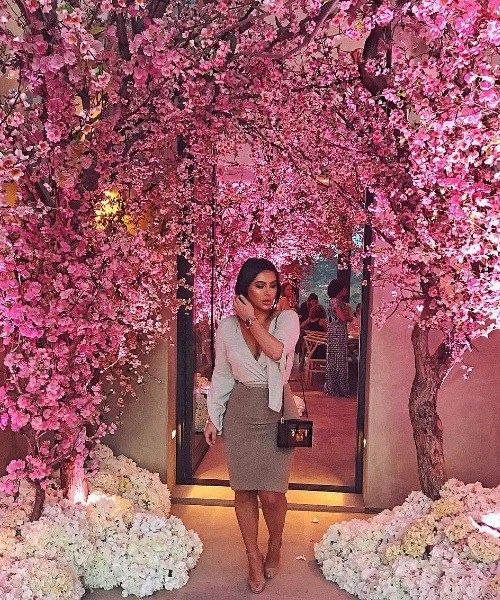 Kim Kardashian Kanye West Threw Amazing Cherry Blossom Theme Baby