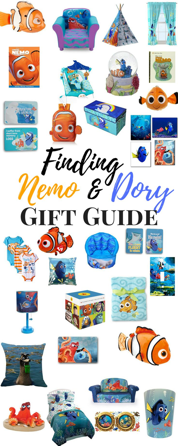 Finding Nemo Gift Ideas - Finding Dory Gift Ideas Whether you're looking Finding Nemo Party Ideas, Finding Dory party ideas, decorating a room in Finding Nemo, or just looking for the perfect Finding Nemo Gift Ideas, here is a list of some of our favorites!