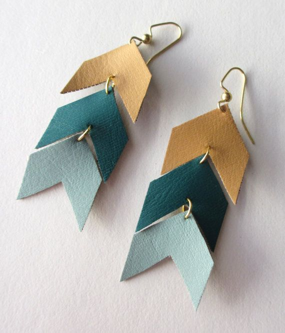 Handmade tan, teal and aqua vinyl chevron earrings. Super cute and free shipping today! (April 8)