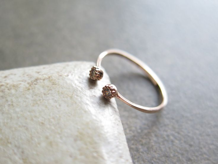 Delicate Sterlig silver Adjustable CZ Ring / Round cz open ring / Dainty CZ ring /Dual Silver Ring/925 simple silver ring/Round CZ open ring by thinlight on Etsy