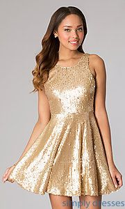 Buy Short Sleeveless Sequin Dress at SimplyDresses