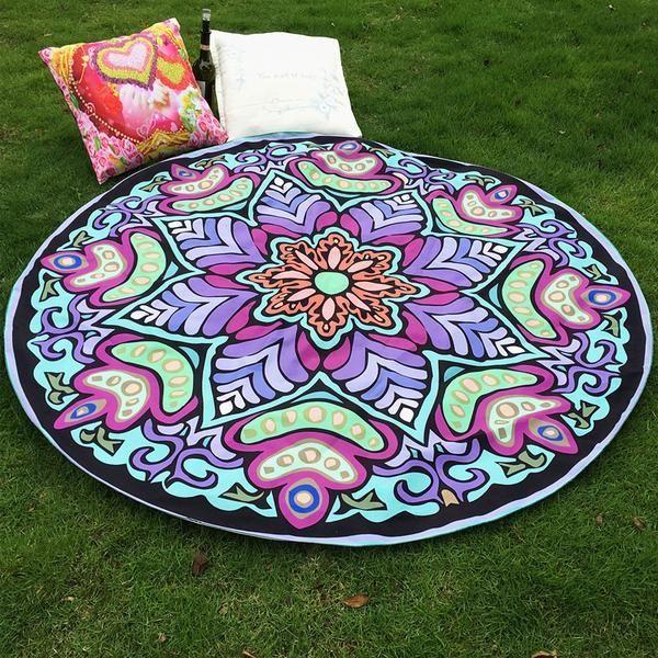 Round Indian Mandala Tapestry