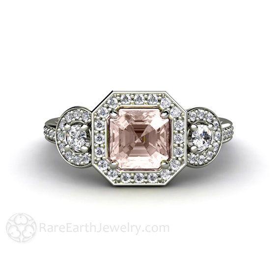 Asscher Morganite Engagement Ring Assher Diamond Halo by RareEarth