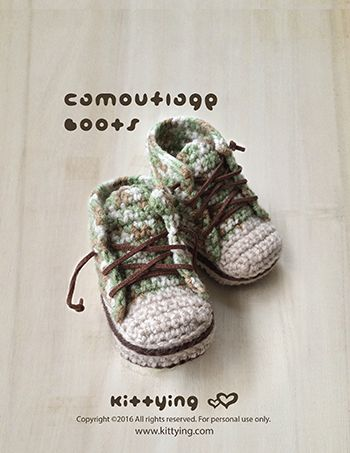 Camouflage Baby Boots Crochet Pattern by Crochet Pattern Kittying from Kittying.com / Mulu.us This pattern includes sizes for 0 – 12 months. Adidas Crochet Sneakers, Autumn Crochet Pattern, Baby Pattern, Baby Sneakers, booties pattern, Camouflage, Camouflage Baby Boots, Camouflage Boots, Children Sneakers, Crochet Baby Booties, Crochet Baby Patterns, Crochet Booties Pattern, Crochet Boots, Crochet Pattern, Crochet Pattern Baby, nike, Nike Baby Sneakers, Nike Crochet Booties, Nike Crochet…