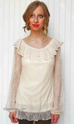 AC Teagan Vintage Lace Blouse In Cream A'reve Areve Fashion Apparel for Ladies [Ladies Vintage Blouse] #Vintage #trends #alwaysinfashion #essential #party #women #blouse #Sheer #lace #love