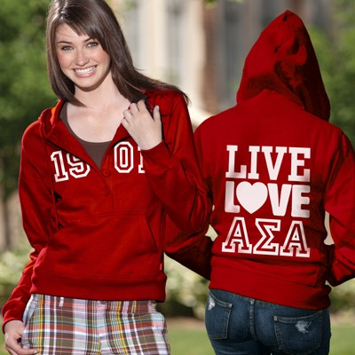Alpha Sigma Alpha Sorority Fashion Hoody----I need this!!! Thank you Something Greek for creating this!