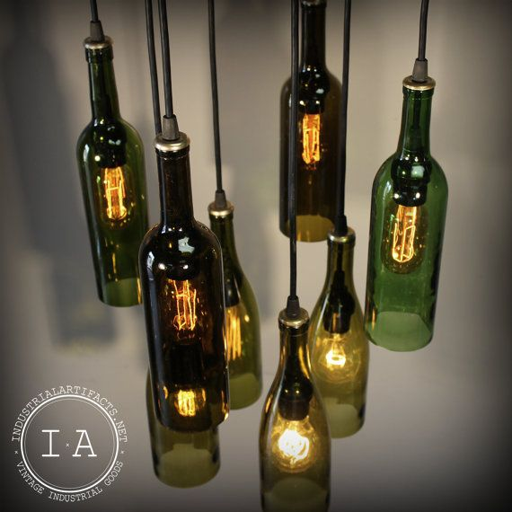 Repurposed wine bottle pendant chandelier wood frame hanging lamp by etsy shop industrial - Wine bottle pendant light ...