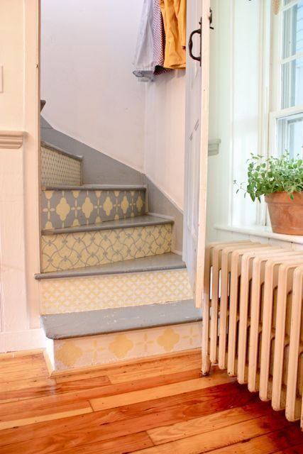 These stairs are so cute. I love the (not at all to code) curve, and the design. But mostly the curve. Damn you, Code!! I love this farmhouse tour, this is my second pin from it.