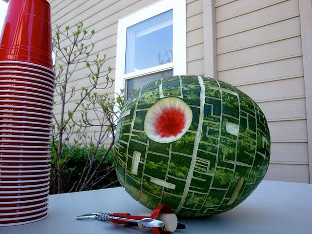 Death Star Watermelons: The only thing that makes a watermelon in the summer more delicious is making it look like the Death Star.