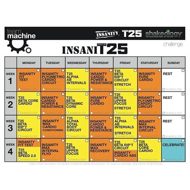 Insanity Workout T25: 25+ Best Ideas About T25 Schedule On Pinterest
