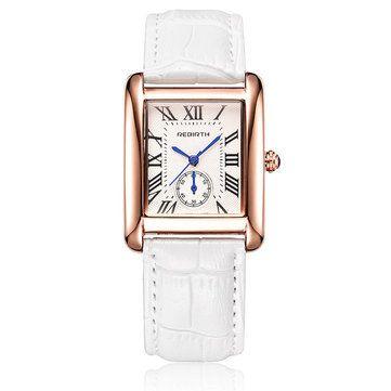 REBIRTH Women Luxury Watches Red White Black Scenario Quartz Digital Watch for Women Gift