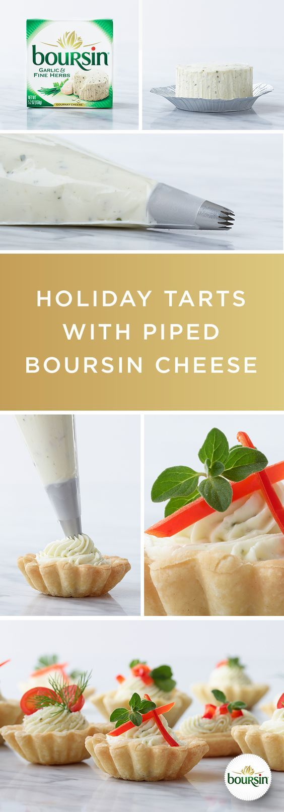 There's more than one way to enjoy Boursin cheese. Simply fill a piping bag with the Boursin cheese of your choice and squeeze it onto a freshly baked tart. Garnish with peppers, dill, and other red and green toppings to give your guests the gift of good taste.