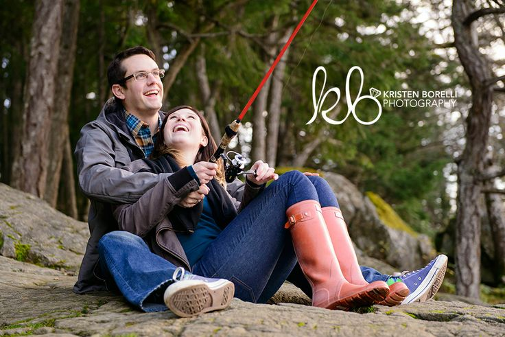 "Fishing Engagement Photo - I could have the tackle box saying the ""save the date""!"
