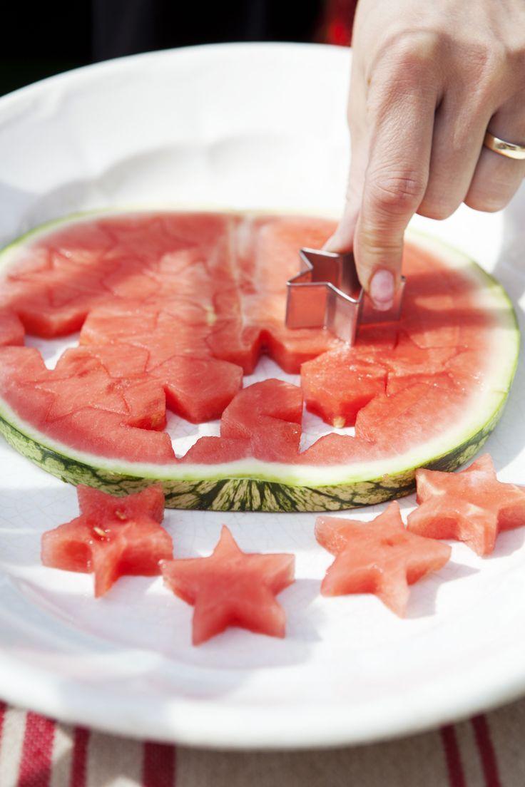 Melonen Snacks mit Keks Ausstechern/Plätzchenformen *** Great Kids Party Snack Idea - Melon Stars with cookie cutter