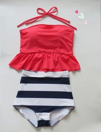 High Waisted peplum Tankini Neon Pink/Navy & White Stripes