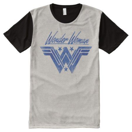 Wonder Woman Stacked Stars Symbol All-Over-Print T-Shirt - tap, personalize, buy right now!