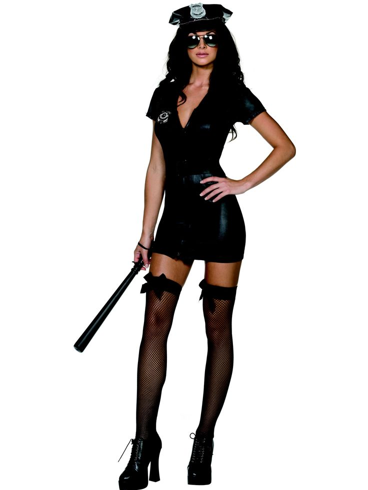 Sexy Policewoman costume: This sexy Police Officer costume is made up of a shiny black dress made out of imitation leather, with a police badge, a belt with a silver buckle and a matching cap. This Dress opens and closes at...