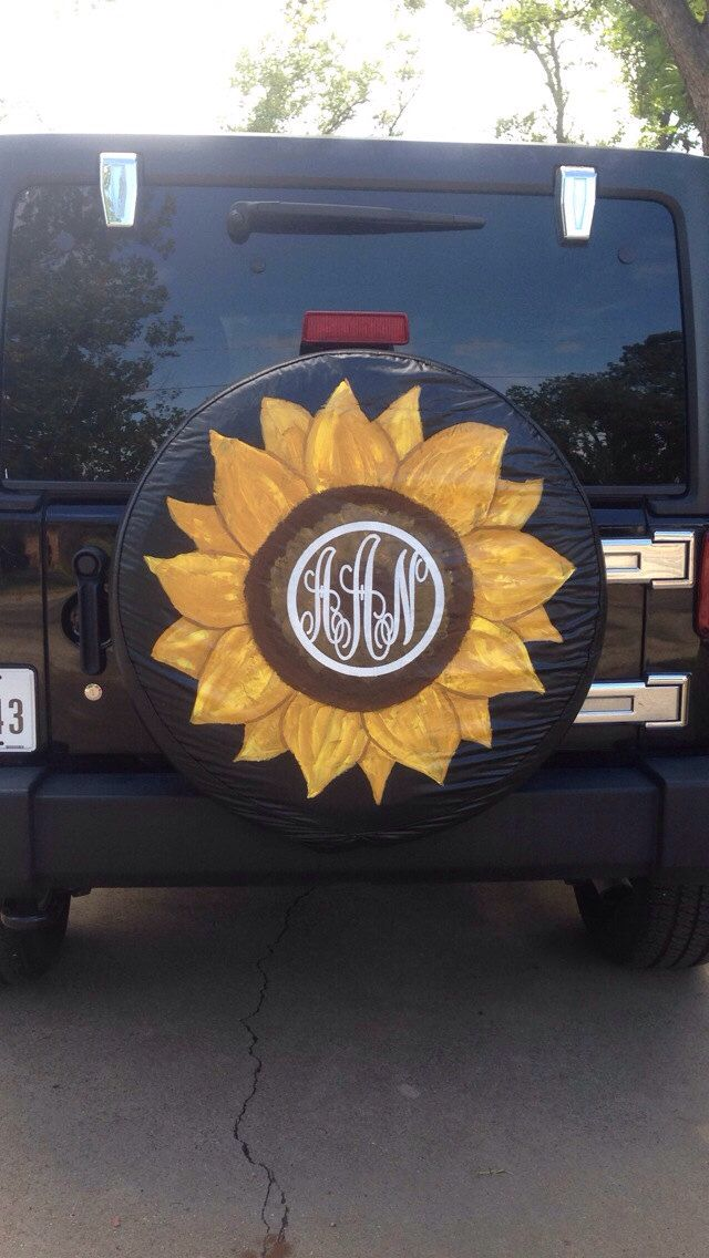 Hand painted custom spare tire cover by kateskraftsandgifts on Etsy https://www.etsy.com/listing/198442929/hand-painted-custom-spare-tire-cover