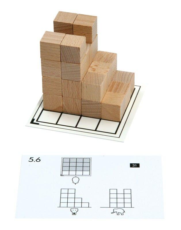 Opdrachtkaarten voor houten kubussen > Cubo. Bouwen met houten kubussen De kaarten van deel 3- 5 laten 3 aanzichten zien (voor-, zij en boven aanzicht). Met houten blokjes bouwen de leerlingen de opdracht op de bouwkaart. Als zelfcontrole staat op de achterkant het antwoord in een drie-dimensionaal aanzicht. Te koop set 3-4-5, Geschikt voor 2 kinderen tegelijkertijd. 10 opdrachtkaarten + 2 blanco voor eigen ontwerp. Vraagprijs 10 euro. Via www.praktijklezenenzo.nl . Ga naar de contactpagina.